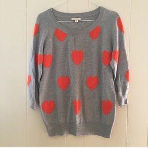 PLEiONE 3/4 sleeve orange heart sweater